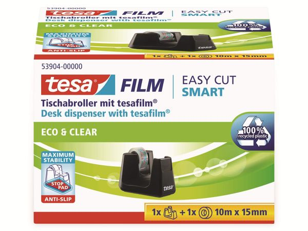 tesafilm® Tischabroller Smart + tesafilm® eco&clear, 1 Rolle , 10m:15mm, 53904-00000-01 - Produktbild 5