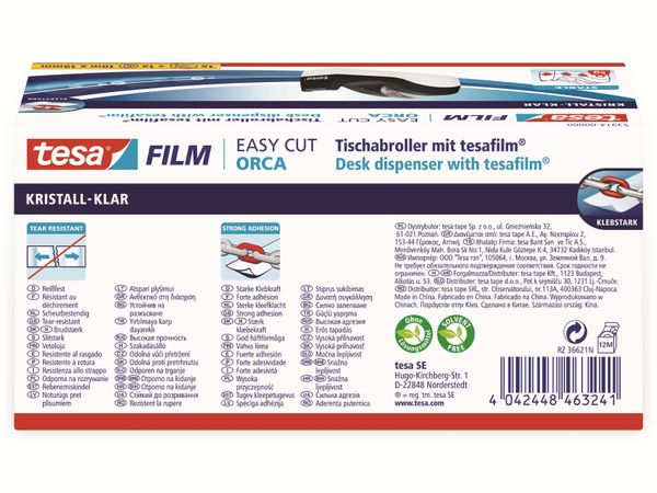 tesafilm® Tischabroller Orca + tesafilm® kristall-klar, 1 Rolle , 10m:19mm, 53914-00000-00 - Produktbild 4