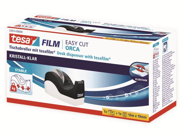 tesafilm® Tischabroller Orca + tesafilm® kristall-klar, 1 Rolle , 10m:19mm, 53914-00000-00 - Produktbild 7