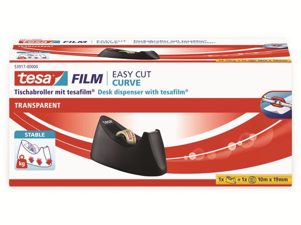 tesafilm® Tischabroller Curve + tesafilm® transparent, 1 Rolle , 10m:19mm, 53917-00000-00 - Produktbild 7
