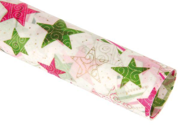 Transparentpapier HEYDA 20-4879392, Sterne pink/grün - Produktbild 1