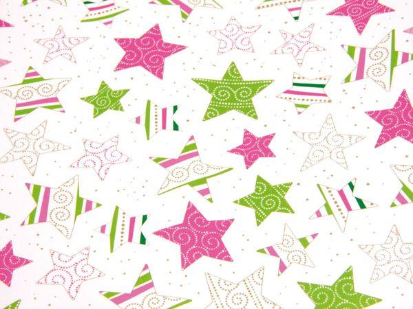 Transparentpapier HEYDA 20-4879392, Sterne pink/grün - Produktbild 2