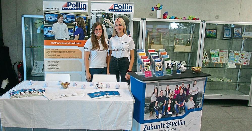 Die beiden Azubis Linda Gottsmich und Elly Burbach präsentierten ihren Ausbildungsbetrieb  Pollin Electronic